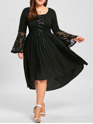 Plus Size High Low Lace Up Lace Panel Dress - Black - 5xl