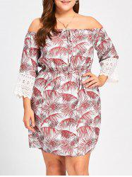 Plus Size Tropical Off The Shoulder Dress -