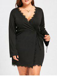 Plus Size Long Sleeve Mini Surplice Dress -