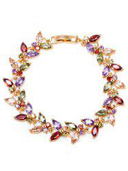 Butterfly Colorful Faux Gemstone Embellished Charm Bracelet - COLORFUL