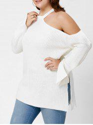 Plus Size Cold Shoulder Side Slit Sweater -