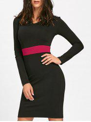 V Neck Two Tone Mini Bodycon Dress - BLACK 2XL