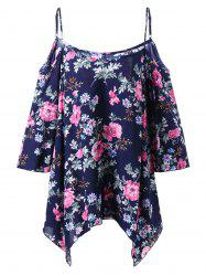 Plus Size Dew Shoulder Floral Handkerchief Blouse -