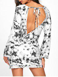 Open Back Long Sleeve Tie Dye T-shirt Dress -