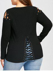 Plus Size Criss Cross Long Sleeve Ribbed Top - BLACK XL