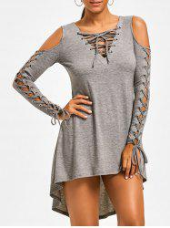 Open Shoulder Lace Up Tee Dress - HEATHER GRAY M