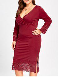Midi Lace Trim Plus Size Fitted Surplice Dress -