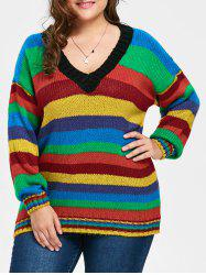 Plus Size Rainbow Striped Drop Shoulder Chunky Sweater -