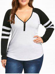 Plus Size Raglan Sleeves Stripes Two Tone T-shirt - White And Black - 5xl