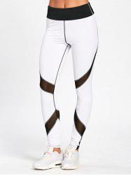 Striped Skinny High Waisted Leggings - WHITE AND BLACK XL