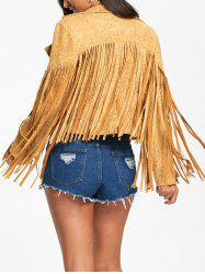 Zip Up Long Fringed Short Jacket -