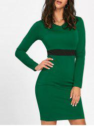 V Neck Two Tone Mini Bodycon Dress -