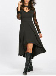 Mock Neck Laciness High Low Dress -