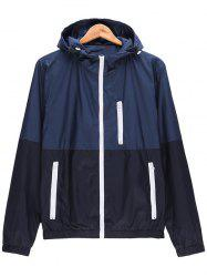 Two Tone Zip Up Hooded Lightweight Jacket -