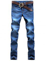 Straight Leg Zip Fly Faded Jeans -