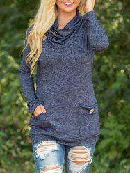 Sweat à manches courtes Cowl Neck -