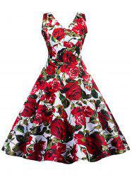 Vintage Floral Skater Pin Up Dress -