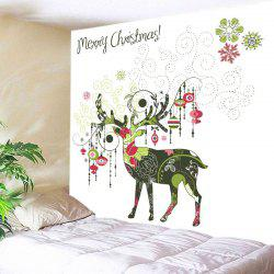 Merry Christmas Deer Print Tapestry Wall Hanging Art Decoration -
