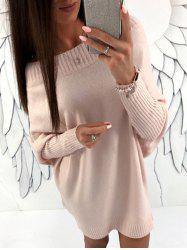 Batwing Sleeve Boat Neck Sweater Dress -