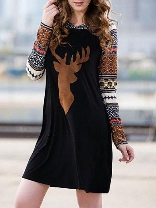 Christmas Hooded Long Sleeve Print DressWOMEN<br><br>Size: L; Color: BLACK; Style: Brief; Material: Polyester; Silhouette: Shift; Dress Type: Hoodie Dress; Dresses Length: Mini; Neckline: Hooded; Sleeve Length: Long Sleeves; Pattern Type: Print; With Belt: No; Season: Fall; Weight: 0.3500kg; Package Contents: 1 x Dress; Occasion: Casual;
