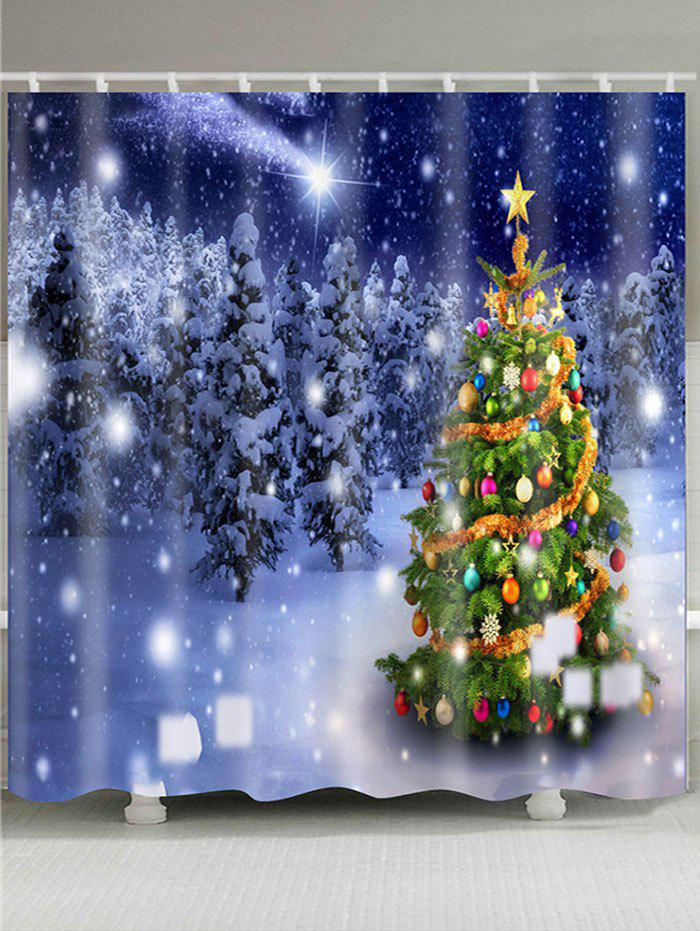 Falling Snow Christmas Tree Shower Bath CurtainHOME<br><br>Size: W59 INCH * L71 INCH; Color: COLORFUL; Products Type: Shower Curtains; Materials: Polyester; Pattern: Christmas Tree,Forest,Snowflake; Style: Festival; Number of Hook Holes: W59 inch * L71 inch:10, W65 inch * L71 inch:12, W71 inch * L71 inch:12, W71 inch * L79 inch:12, W79 inch * L71 inch:12; Package Contents: 1 x Shower Curtain 1 x Hooks (Set);