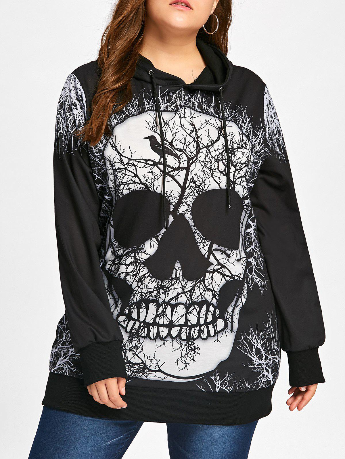 Skull Print Plus Size Halloween HoodieWOMEN<br><br>Size: 5XL; Color: BLACK; Material: Polyester,Spandex; Shirt Length: Regular; Sleeve Length: Full; Style: Fashion; Pattern Style: Character,Print; Season: Fall,Spring; Weight: 0.4500kg; Package Contents: 1 x Hoodie;