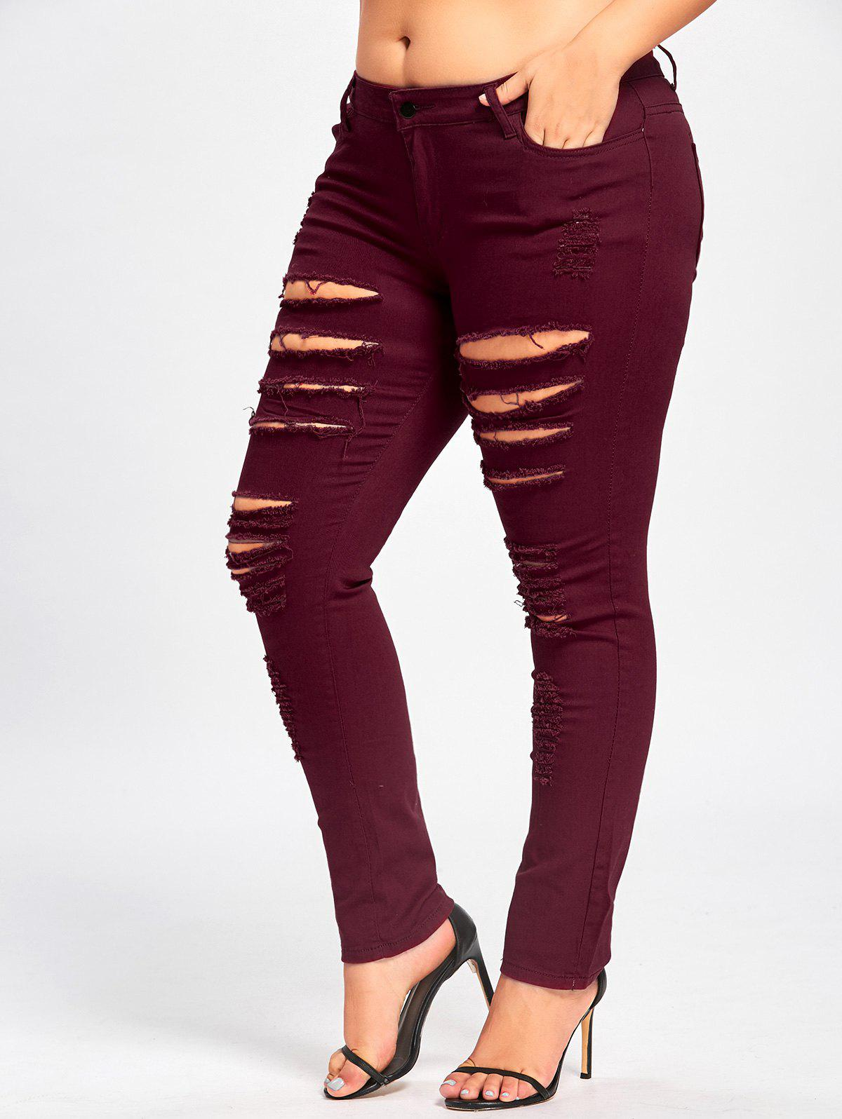 Plus Size Ladder Ribbed JeansWOMEN<br><br>Size: XL; Color: DEEP RED; Style: Fashion; Length: Normal; Material: Polyester,Spandex; Fit Type: Regular; Waist Type: Mid; Closure Type: Zipper Fly; Pattern Type: Solid; Pant Style: Pencil Pants; Weight: 0.4700kg; Package Contents: 1 x Jeans;