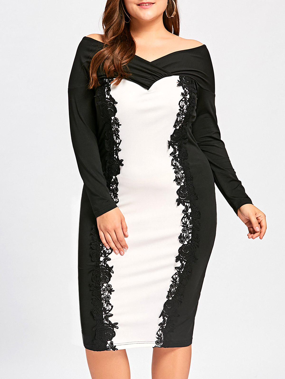 Formal Plus Size Knee Length Off Shoulder DressWOMEN<br><br>Size: 5XL; Color: WHITE AND BLACK; Style: Brief; Material: Polyester,Spandex; Silhouette: Sheath; Dresses Length: Knee-Length; Neckline: Off The Shoulder; Sleeve Length: Long Sleeves; Pattern Type: Others; With Belt: No; Season: Fall,Spring; Weight: 0.4160kg; Package Contents: 1 x Dress;