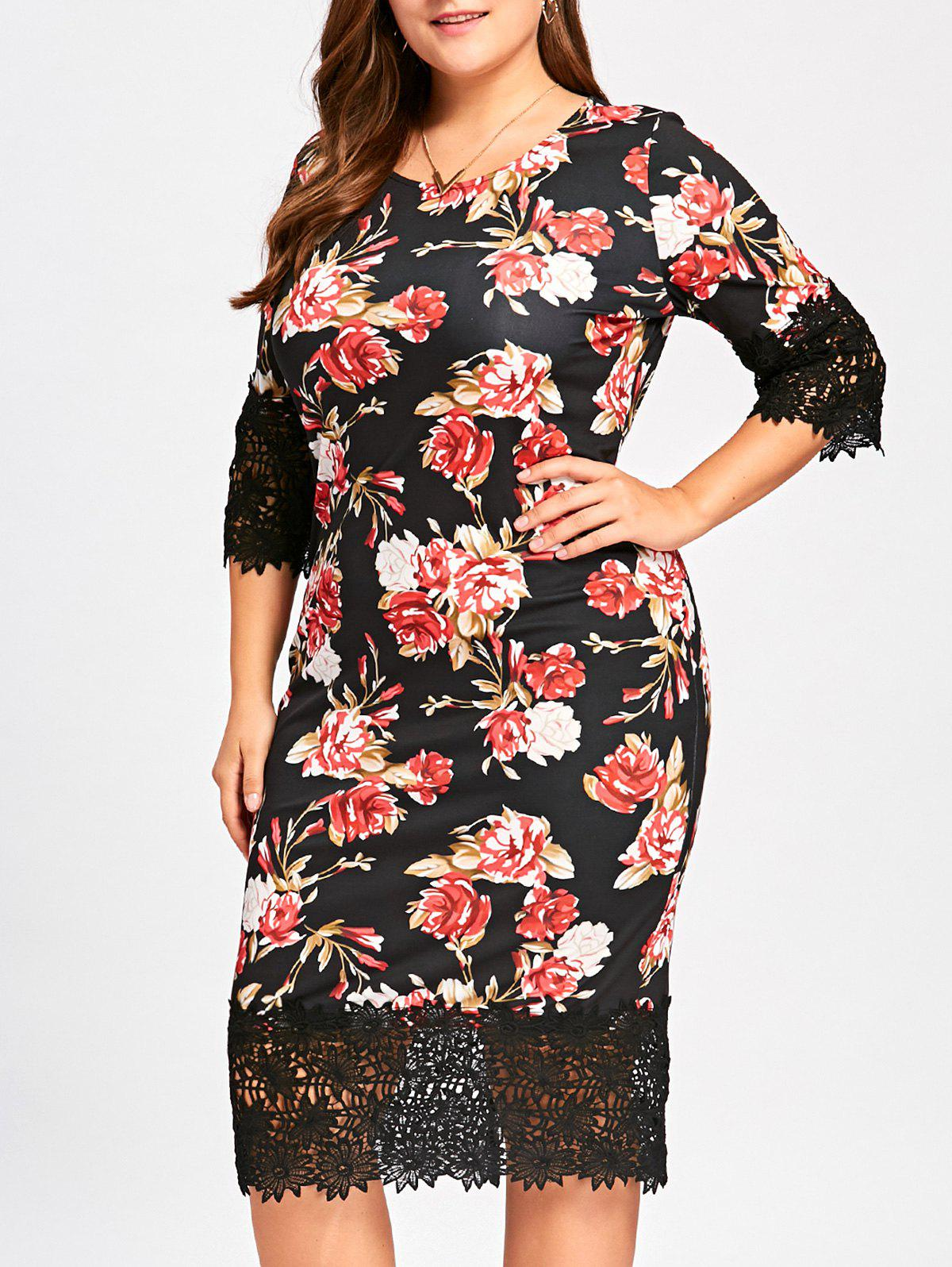 Midi Floral Sheath Plus Size DressWOMEN<br><br>Size: 5XL; Color: FLORAL; Style: Brief; Material: Polyester,Spandex; Silhouette: Sheath; Dresses Length: Mid-Calf; Neckline: Round Collar; Sleeve Length: 3/4 Length Sleeves; Pattern Type: Floral; With Belt: No; Season: Fall,Spring; Weight: 0.4030kg; Package Contents: 1 x Dress;
