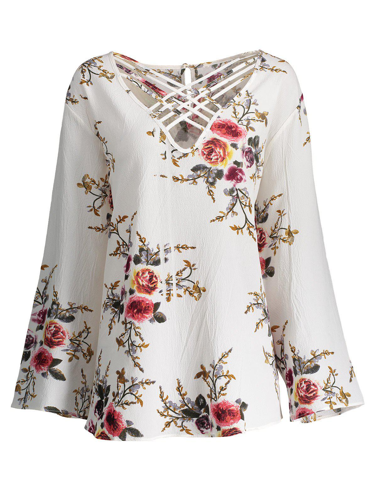Lattice Plus Size Hollow Out Floral TopWOMEN<br><br>Size: 4XL; Color: CRYSTAL CREAM; Material: Polyester,Spandex; Shirt Length: Regular; Sleeve Length: Full; Collar: V-Neck; Style: Fashion; Season: Fall,Spring; Pattern Type: Floral; Weight: 0.2200kg; Package Contents: 1 x Top;