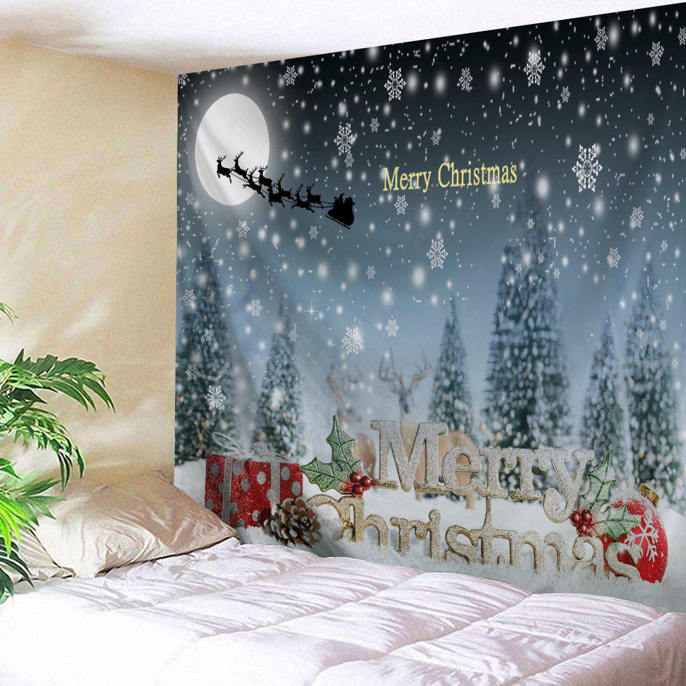 Christmas Snow Night Sled Moon Wall TapestryHOME<br><br>Size: W79 INCH * L71 INCH; Color: COLORMIX; Style: Festival; Theme: Christmas; Material: Polyester; Feature: Removable,Washable; Shape/Pattern: Animal,Letter,Moon,Snow,Tree; Weight: 0.3000kg; Package Contents: 1 x Tapestry;