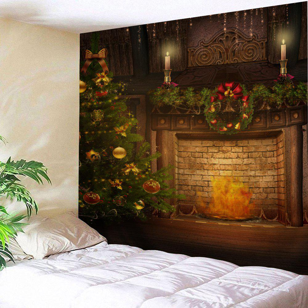Christmas Tree Fireplace Wall Art TapestryHOME<br><br>Size: W91 INCH * L71 INCH; Color: COLORMIX; Style: Festival; Theme: Christmas; Material: Polyester; Feature: Removable,Washable; Shape/Pattern: Print,Tree; Weight: 0.3800kg; Package Contents: 1 x Tapestry;
