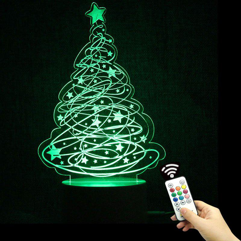 Christmas Tree and Stars Shape Remote Control Color Change Night LightHOME<br><br>Color: TRANSPARENT; Products Type: Novelty Lighting; Materials: Acrylic, ABS; Style: Novelty; Occasion: Bedroom,Christmas,Home,Party Supplies; Voltage(V): 3V; Power (W): 5W; Weight: 0.2640kg; Package Contents: 1 x Lamp Base 1 x Acrylic Plate 1 x USB Cable 1 x Remote Controller;