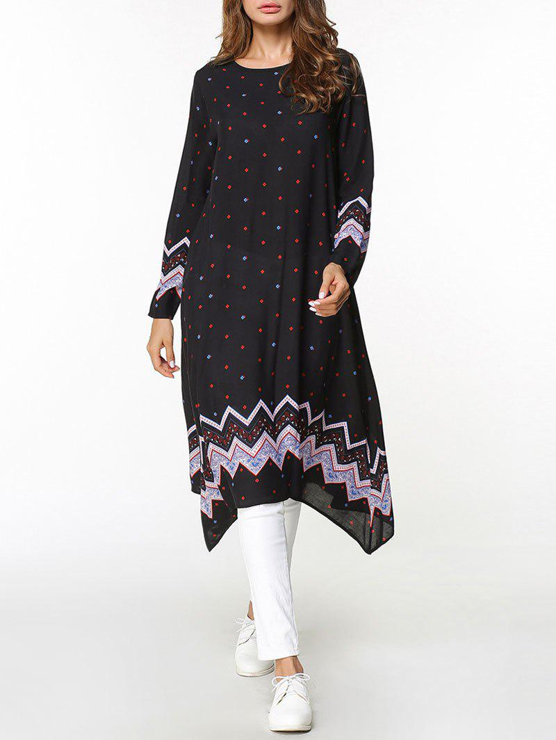 Latest Zigzag Asymmetrical Long Sleeve Dress