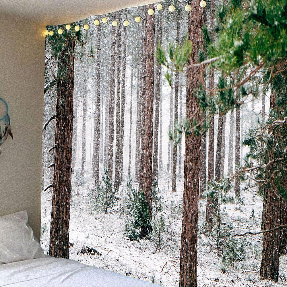 Waterproof Forest Snow Pattern Wall Hanging TapestryHOME<br><br>Size: W79 INCH * L71 INCH; Color: WHITE AND BROWN; Style: Natural; Material: Velvet; Feature: Removable,Washable,Waterproof; Shape/Pattern: Forest,Snow; Weight: 0.3900kg; Package Contents: 1 x Tapestry;