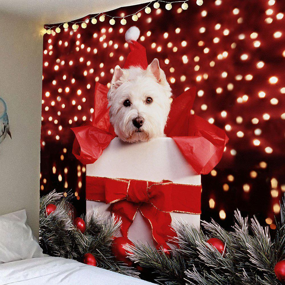Waterproof Christmas Dog Printed Wall Hanging TapestryHOME<br><br>Size: W79 INCH * L59 INCH; Color: COLORFUL; Style: Festival; Theme: Christmas; Material: Velvet; Feature: Removable,Washable,Waterproof; Shape/Pattern: Animal; Weight: 0.3200kg; Package Contents: 1 x Tapestry;