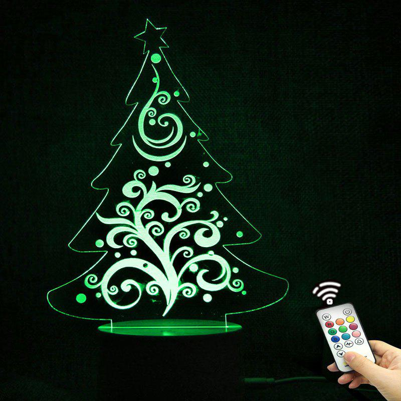 Christmas Tree Shape Telecontrol Color Changing Night LightHOME<br><br>Color: TRANSPARENT; Products Type: Novelty Lighting; Materials: Acrylic, ABS; Style: Novelty; Occasion: Bedroom,Christmas,Home,Party Supplies; Voltage(V): 3V; Power (W): 5W; Weight: 0.2640kg; Package Contents: 1 x Lamp Base 1 x Acrylic Plate 1 x USB Cable 1 x Remote Controller;