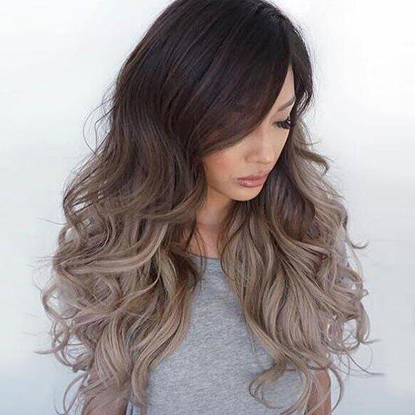 Long Side Bang Shaggy Wavy Ombre Synthetic WigHAIR<br><br>Color: GRADIENT COLOR; Type: Full Wigs; Cap Construction: Capless (Machine-Made); Style: Wavy; Material: Synthetic Hair; Bang Type: Side; Length: Long; Length Size(CM): 62; Weight: 0.3000kg; Package Contents: 1 x Wig;