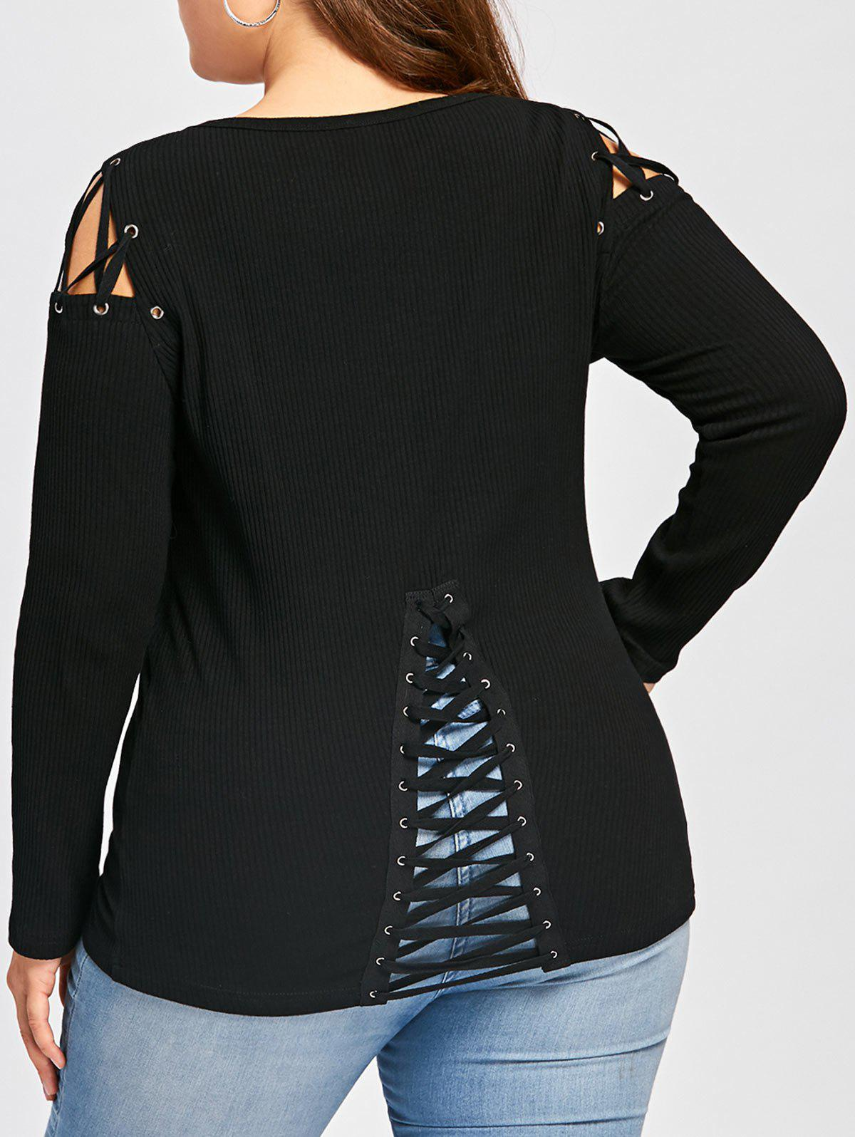 Plus Size Criss Cross Long Sleeve Ribbed TopWOMEN<br><br>Size: XL; Color: BLACK; Material: Polyester,Spandex; Shirt Length: Long; Sleeve Length: Full; Collar: Scoop Neck; Style: Fashion; Season: Fall,Spring; Embellishment: Criss-Cross; Pattern Type: Striped; Weight: 0.3100kg; Package Contents: 1 x T-shirt;
