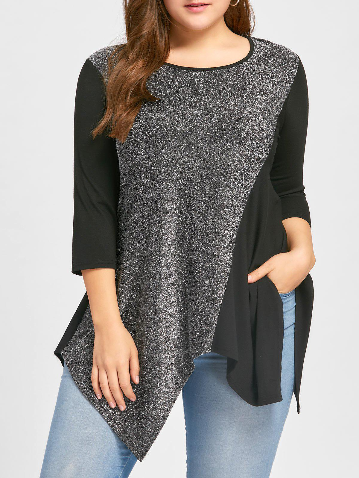 Plus Size Sequined Trim Handkerchief Tunic TopWOMEN<br><br>Size: 4XL; Color: BLACK; Material: Rayon,Spandex; Shirt Length: Regular; Sleeve Length: Three Quarter; Collar: Round Neck; Style: Casual; Season: Fall,Spring; Embellishment: Sequined; Pattern Type: Solid; Weight: 0.3000kg; Package Contents: 1 x Top;