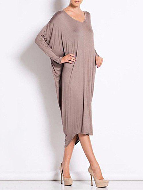 Outfit Backless V Neck Casual Long Sleeve Dress