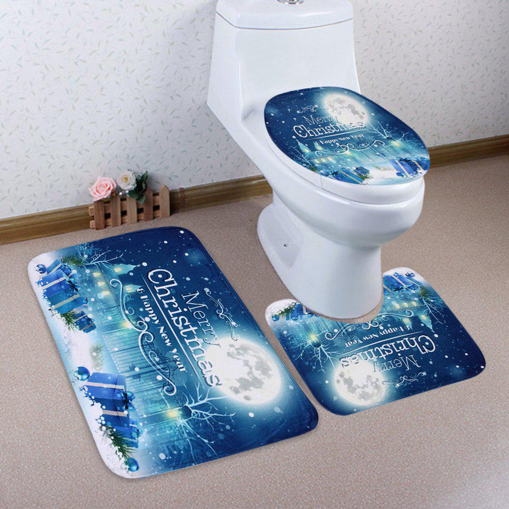Christmas Gift Box Moon 3Pcs Bath Toilet Rugs SetHOME<br><br>Color: BLUE; Products Type: Bath Mats; Materials: Coral FLeece; Pattern: Letter,Moon; Style: Festival; Size: Pedestal Rug: 40*50CM, Lid Toilet Cover: 38*43CM, Bath Mat: 50*80CM; Package Contents: 1 x Pedestal Rug 1 x Lid Toilet Cover 1 x Bath Mat;