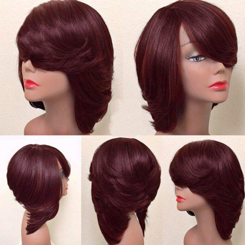 Short Inclined Bang Thick Straight Feathered Bob Synthetic WigHAIR<br><br>Color: WINE RED; Type: Full Wigs; Cap Construction: Capless; Style: Straight; Material: Synthetic Hair; Bang Type: Side; Length: Short; Length Size(CM): 25; Weight: 0.2000kg; Package Contents: 1 x Wig;