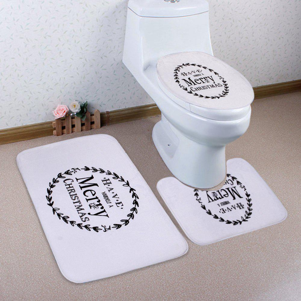 Shops 3Pcs Christmas Letter Print Bath Toilet Rugs Set