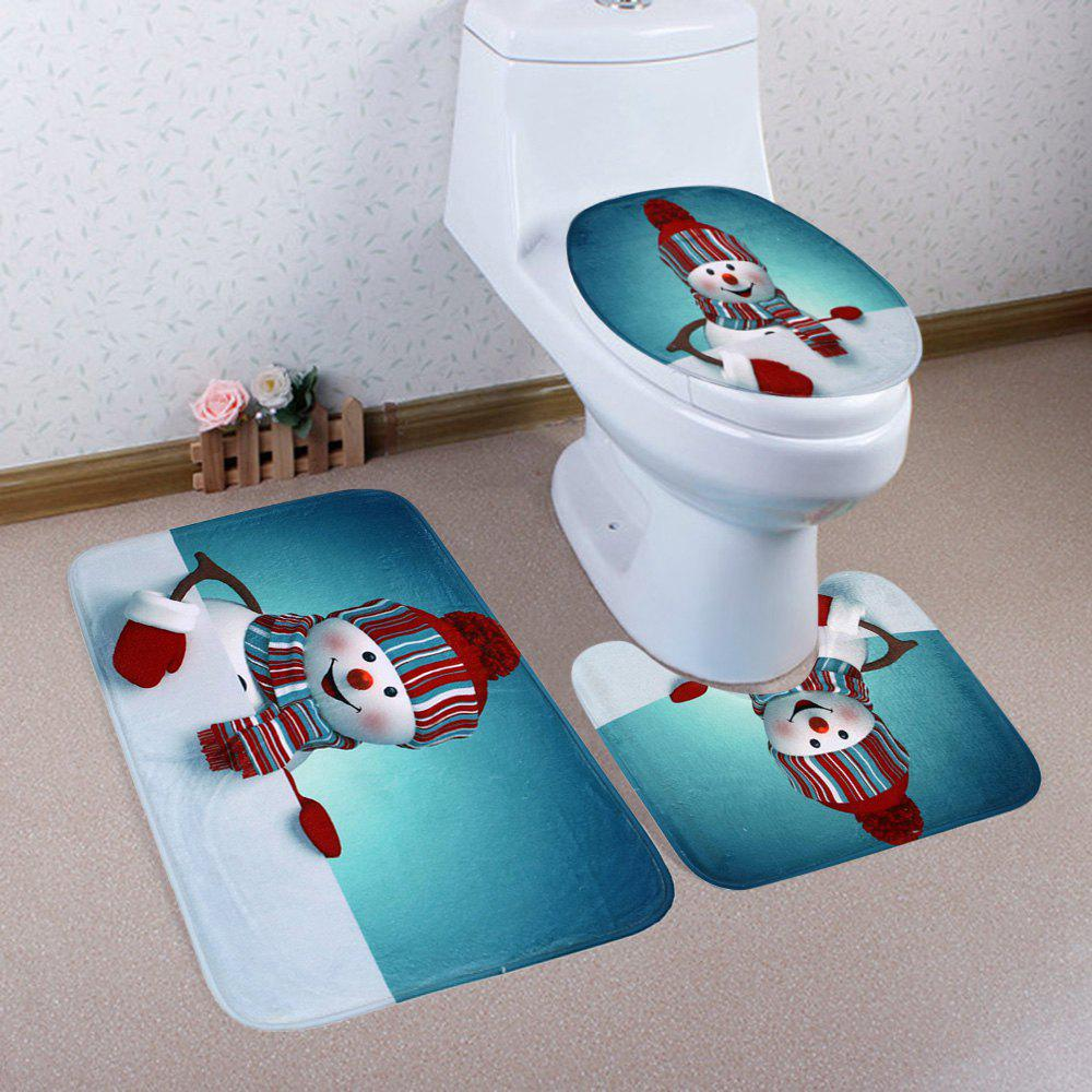 Christmas Snowman Pattern 3 Pcs Bath Mat Toilet MatHOME<br><br>Color: COLORMIX; Products Type: Bath Mats; Materials: Coral FLeece; Pattern: Snowman; Style: Festival; Size: Pedestal Rug: 40*50CM, Lid Toilet Cover: 38*43CM, Bath Mat: 50*80CM; Package Contents: 1 x Pedestal Rug 1 x Lid Toilet Cover 1 x Bath Mat;