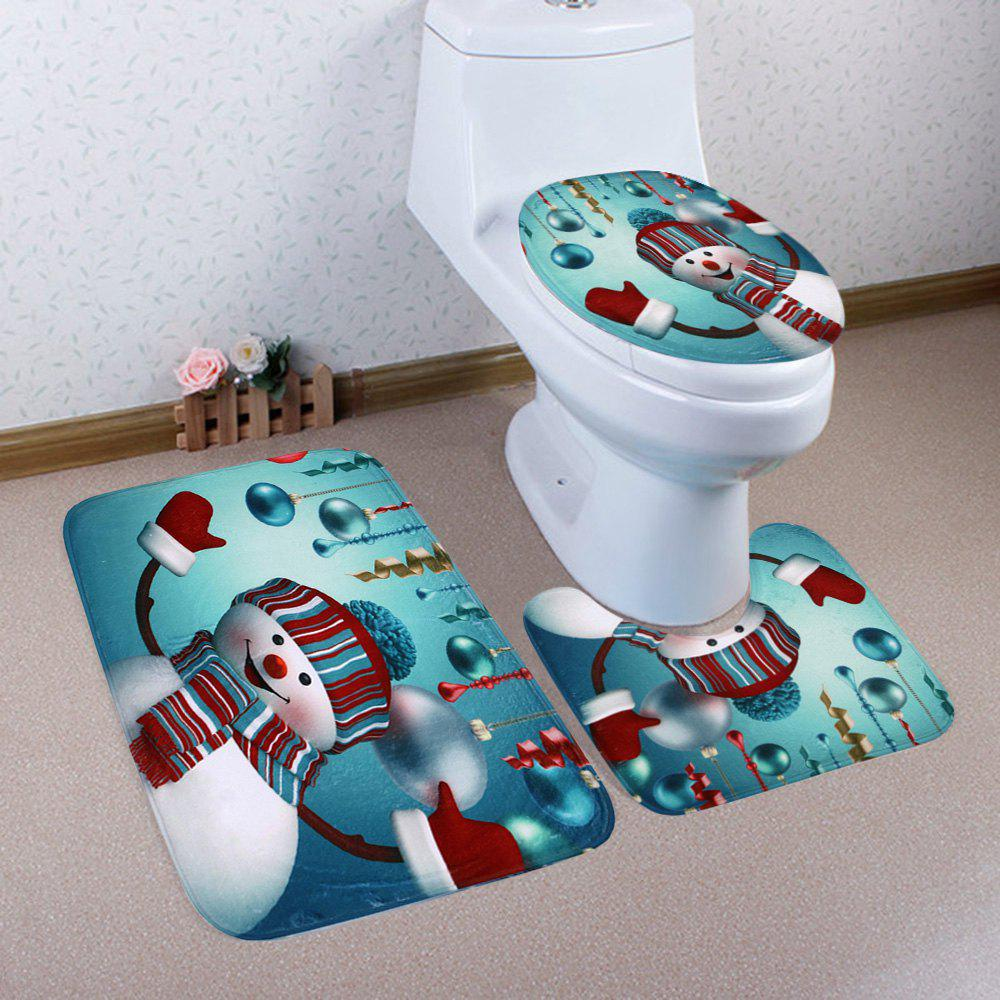 Latest Christmas Baubles Snowman Pattern 3 Pcs Bath Mat Toilet Mat