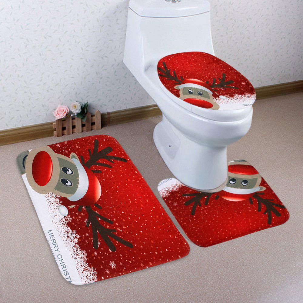 Christmas Deer Pattern 3 Pcs Bath Mat Toilet MatHOME<br><br>Color: RED; Products Type: Bath Mats; Materials: Coral FLeece; Pattern: Animal; Style: Festival; Size: Pedestal Rug: 40*50CM, Lid Toilet Cover: 38*43CM, Bath Mat: 50*80CM; Package Contents: 1 x Pedestal Rug 1 x Lid Toilet Cover 1 x Bath Mat;