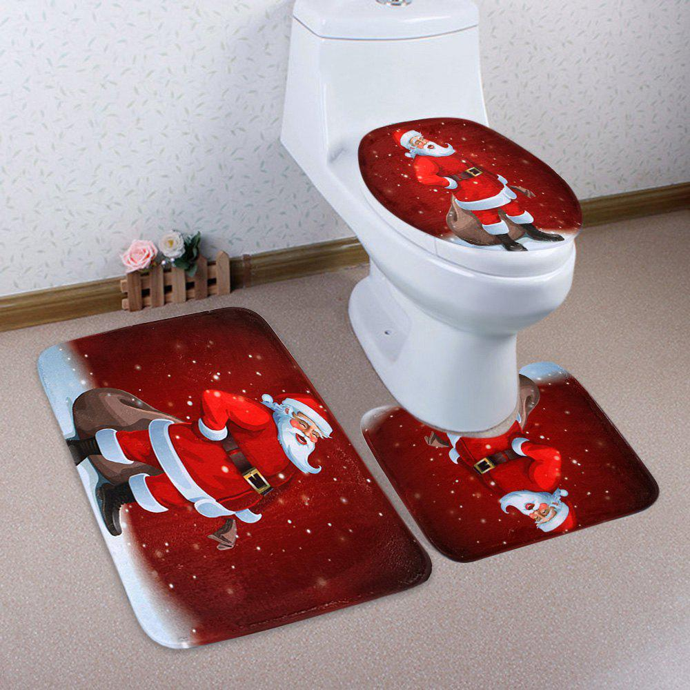 Christmas Santa Claus Pattern 3 Pcs Bath Mat Toilet MatHOME<br><br>Color: RED; Products Type: Bath Mats; Materials: Coral FLeece; Pattern: Santa Claus; Style: Festival; Size: Pedestal Rug: 40*50CM, Lid Toilet Cover: 38*43CM, Bath Mat: 50*80CM; Package Contents: 1 x Pedestal Rug 1 x Lid Toilet Cover 1 x Bath Mat;