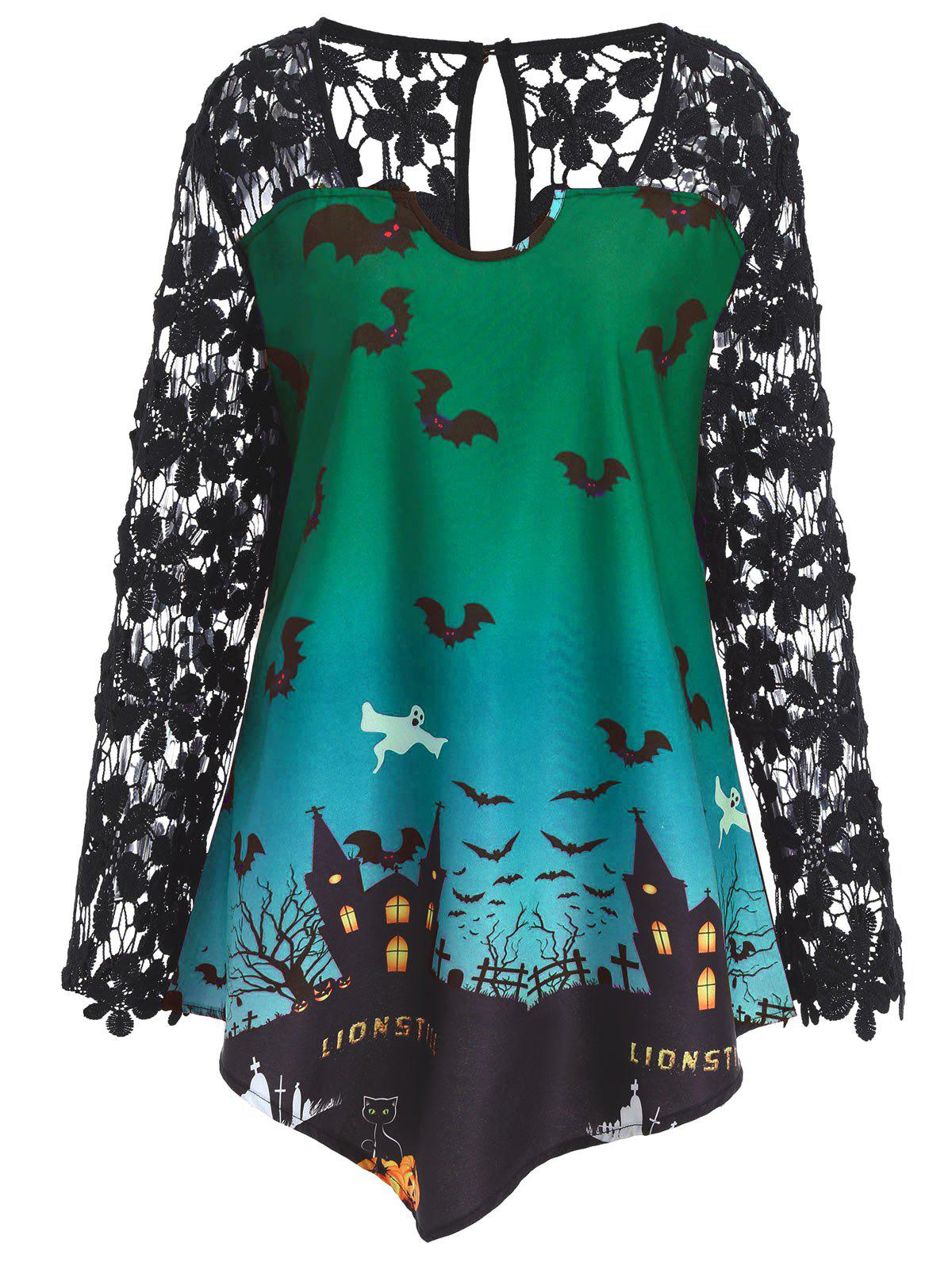 Sale Plus Size Lace Panel Asymmetrical Halloween T-shirt