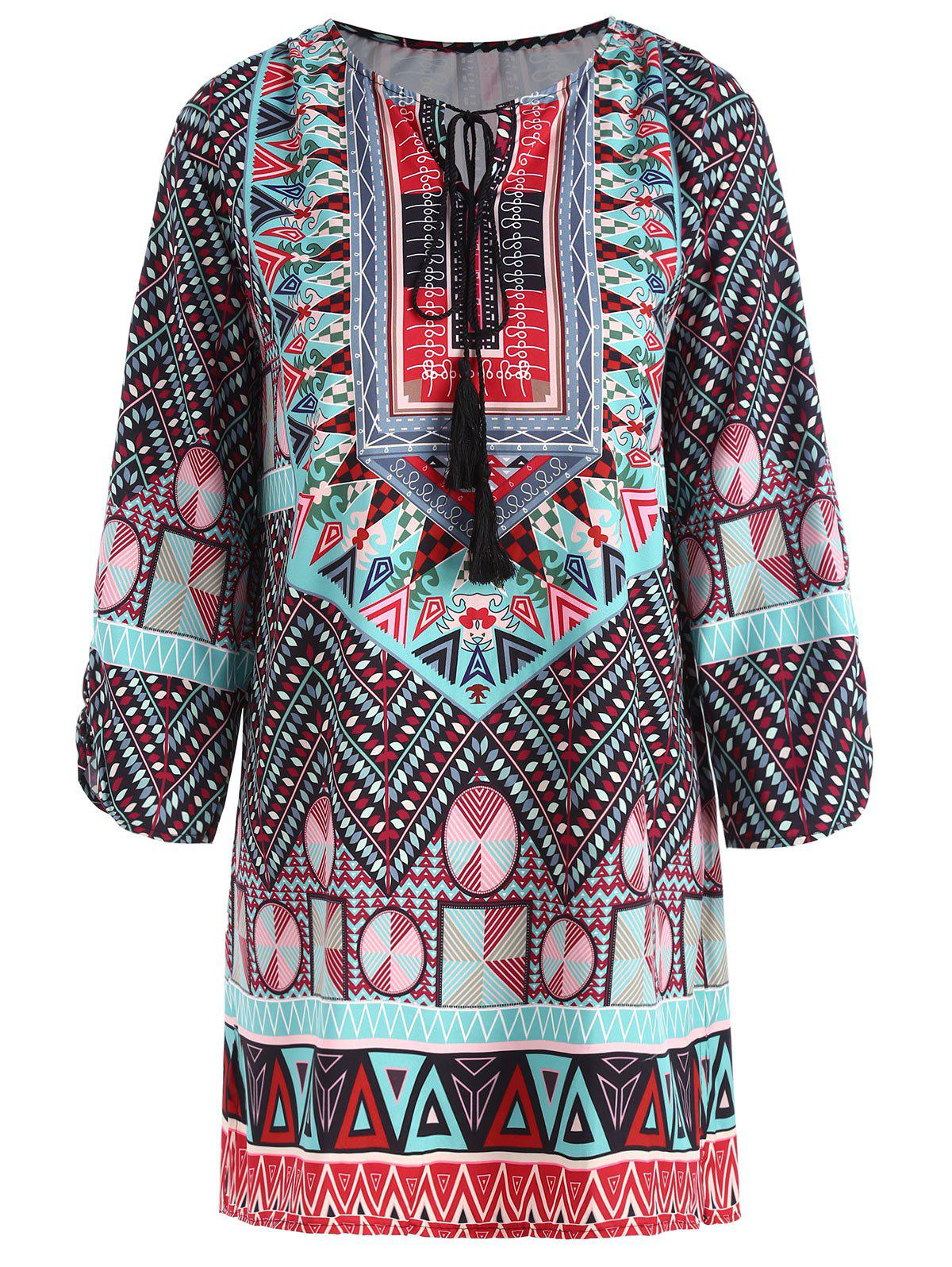 Plus Size Keyhole Tassel Tribe Print BlouseWOMEN<br><br>Size: 5XL; Color: COLORMIX; Material: Polyester; Shirt Length: Long; Sleeve Length: Three Quarter; Collar: Keyhole Neck; Style: Casual; Season: Fall; Embellishment: Tassel; Pattern Type: Print; Weight: 0.2050kg; Package Contents: 1 x Blouse;
